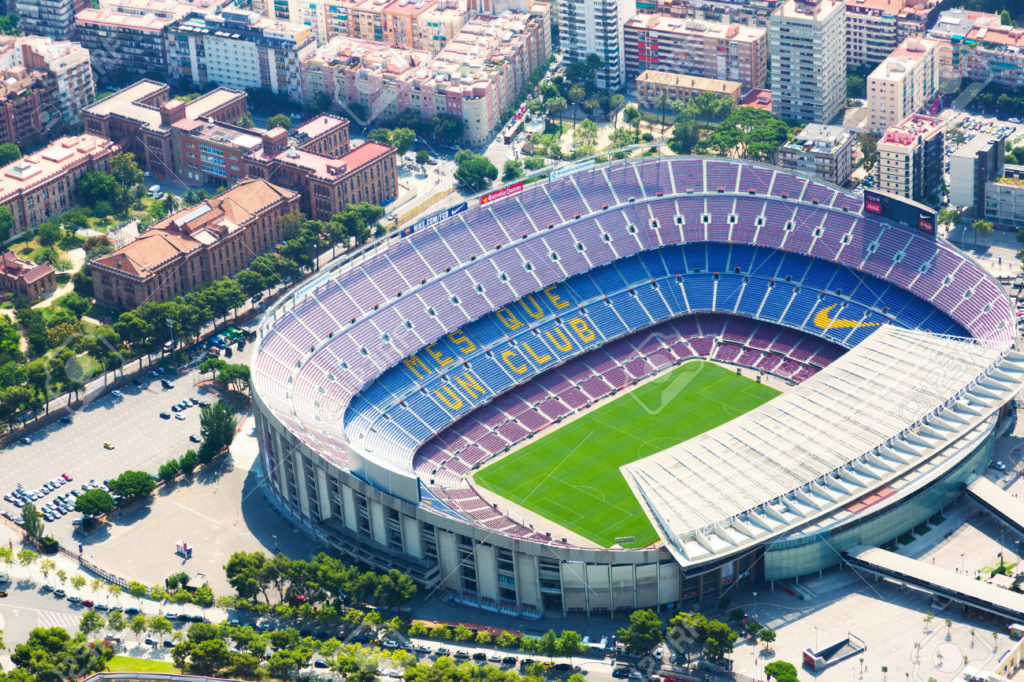 BARCELONA, SPAIN - AUGUST 1, 2014: Aerial view of Camp Nou - stadium of FC Barcelona. Catalonia